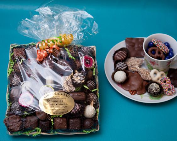 haomemade chocolates on tray